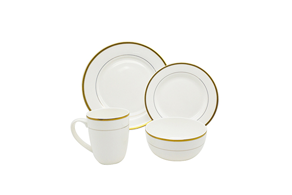 golden flower decal fine bone china dinner set with gold rim