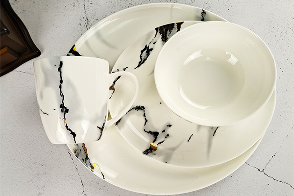 marble decal fine bone china dinenr set