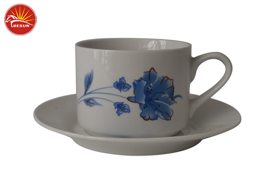 decal cup and saucer, ceramic drinkware