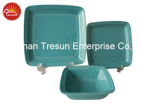 TRC0655 embossed color glazed dinner set